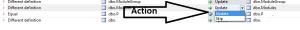 Schema compare action