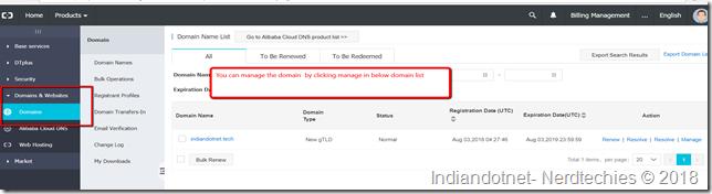 Alibaba_Console_manage_domain_Indiandotnet